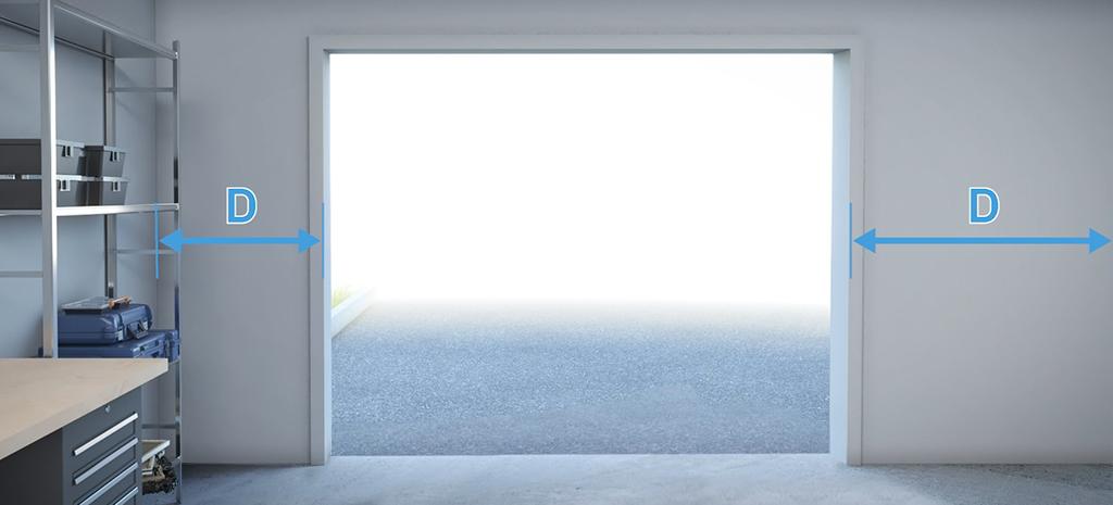 degagement chaque cote ouverture porte de garage
