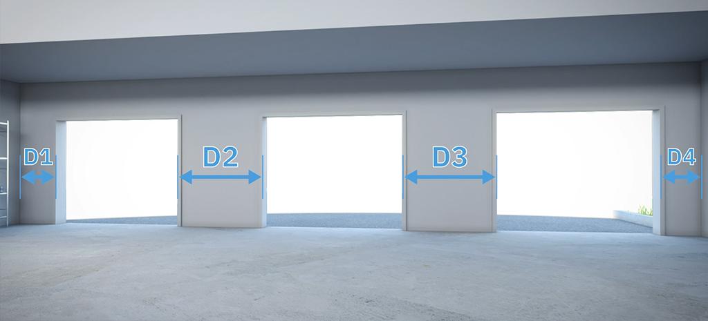 mesurez distance ouverture plusieures portes de garage