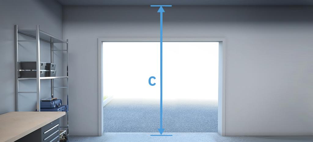 mesurez hauteur libre plancher plafond ouverture porte de garage