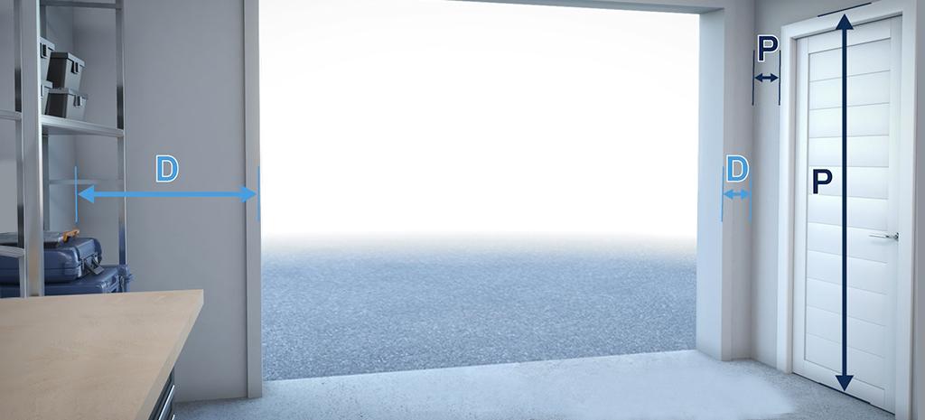 mesurez hauteur porte acces distance  mur ouverture porte laterale porte de garage