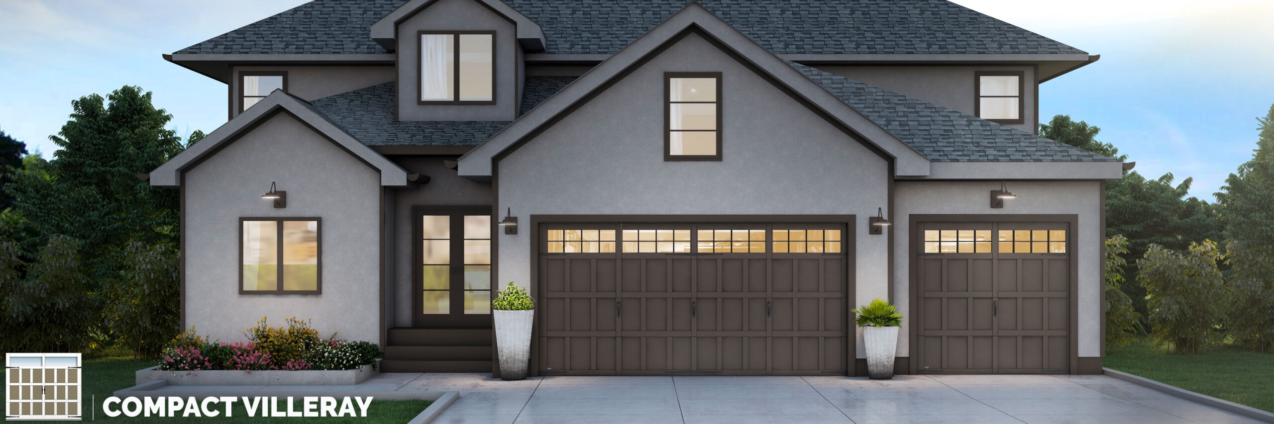 compact villeray carriage house style garage door by garex scaled